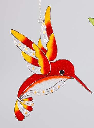 dekojohnson Fensterhänger Fensterschmuck Eisvogel Tiffany Orange 25 cm Hoch   Hängende Fensterdekoration Fensterbild Glas-Bild