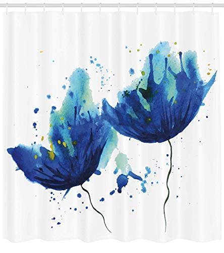 GONIESA Blue Shower Curtain, Watercolor Style Effect Floral Design Abstract Art Cornflower Illustration, Fabric Bathroom Decor Set with Hooks, 60 * 72inch Extra Wide, Pale Blue and Blue Cornflower Blue Liner