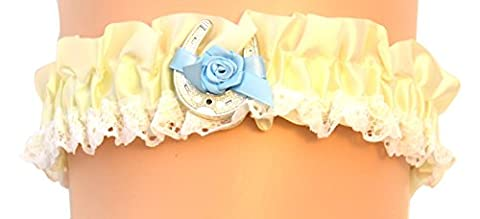 Nortexx Satin Nylon Garter Belt with Blue Bow and Lucky Horse Shoe, White