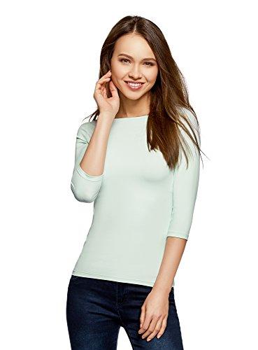 oodji Collection Damen T-Shirt Basic mit 3/4-Ärmeln, Grün, DE 34/EU 36/XS