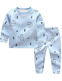 ALLAIBB Pijama de Dibujos Animados para niños Plush Autumn Winter Sleeper 2pcs ...