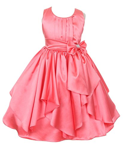 Fairy Dolls Girl's Satin Frock (SATINMIX012, Coral, 5-6 Years)