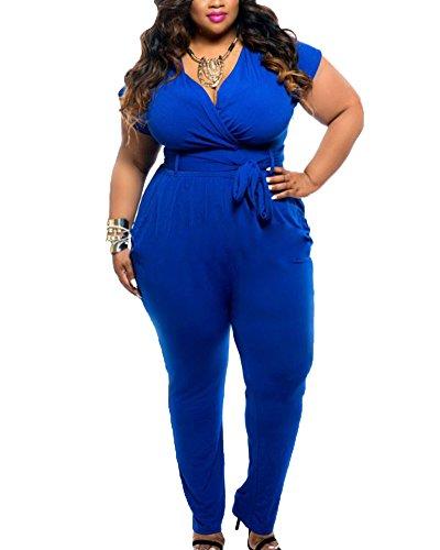 Donna taglie forti jumpsuit da cerimonia a vita alta v-collo con la cintura blu l