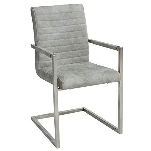 Riess Ambiente Freischwinger Stuhl LOFT Stone grau mit Armlehne Gestell aus Edelstahl Esszimmerstuhl Armlehnenstuhl Konferenzstuhl