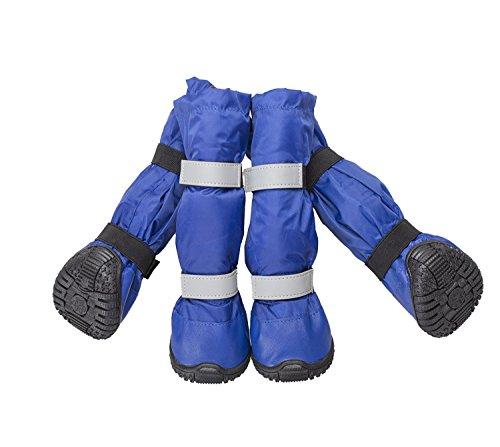 Lillypet 4 Set Hunde Zubehör Haustier Schuhe Hunde Schuhe Pfotenschutz Boots Hunde Stiefel Wasserdicht (M, blau)