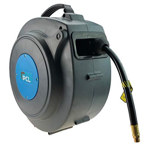 Enrouleur de tuyau avec tuyau d'air comprimé de la marque PVC PCL 15 m Chariot Tambour Tuyau Air comprimé Outil Raccord d'air comprimé 1/4\