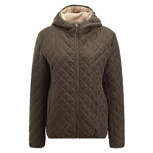 SEWORLD Winterjacke Steppjacke Kapuzen Warme Jacken Lange Mantel, Normaler Anzug aus Baumwolle Groß Reißverschluss Volltonfarbe Warme Jacke(X1-armeegrün,EU:36-38/CN-L)