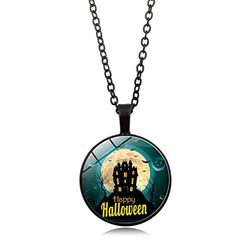 Blisfille Halloween Kürbis Zeit Edelstein Halskette Anhänger Halskette Pullover Kette Damen Herren ()