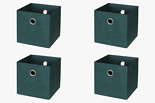 Ikea Kallax (früher Expedit) Regal Faltbox 32 x 32 x 32 cm / Spielzeugbox Regalkorb Klappbox Regalbox Storage Box Stoffbox / faltbar / Spielzeug Aufbewahrung / 4er-Set / Farbe: PETROL TANNENGRÜN DUNKELGRÜN (Spielzeug Storage Box)