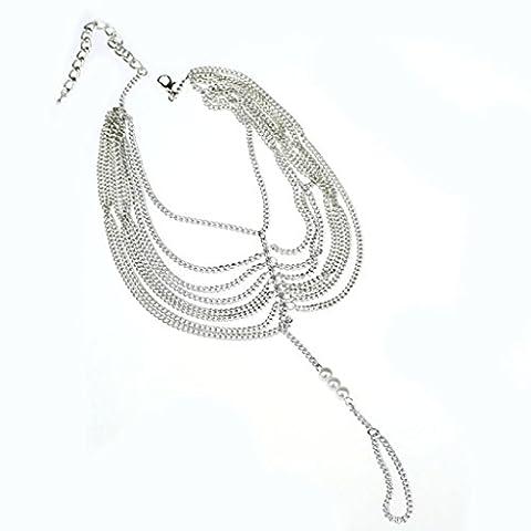 OverDose Women Tassel Chain Anklet Foot Ring Barefoot Sandal Beach Jewelry Toe Silver