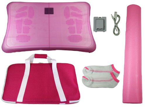Wii Fit Balance Board 5in1 Bundle silikon Schutzhülle , Akku , Yoga Matte uvm. pink (Fit Board Wii Bundle Balance)