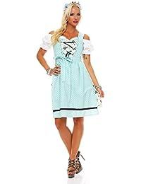4732 Fashion4Young Dirndl 3 tlg.Trachtenkleid Kleid Mini Bluse Schürze Trachten Oktoberfest