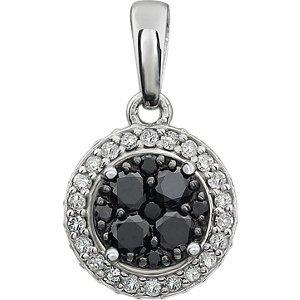 amond Black & White Halo-Anhänger - 14kt White 3/8 CTW Diamond Black & White Halo Pendant (Black Diamond Halo-ring)