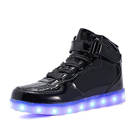 Maniamixx Kinder LED Leuchten Blinkende Schuhe für Mädchen und Jungen High-top Wiederaufladbare Turnschuhe mit USB-Kabel(Schwarz01,35)