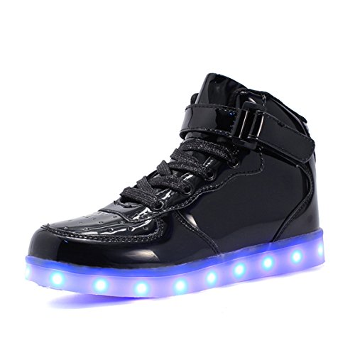 Maniamixx Kinder LED Leuchten Blinkende Schuhe für Mädchen und Jungen High-Top Wiederaufladbare Turnschuhe mit USB-Kabel(Schwarz01,34) (Mädchen Sneakers High-top 6 Größe)