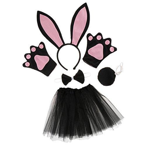 Baoblaze Damen Mädchen Tierkostüm 5tlg. Hase Stirnband Fliege Handschuhe Tutu Rock Schwanz Hasenkostüm Set Karnevalskostüme Tiere Cosplay Kostüm - Schwarz und - Rosa Playboy Bunny Kostüm