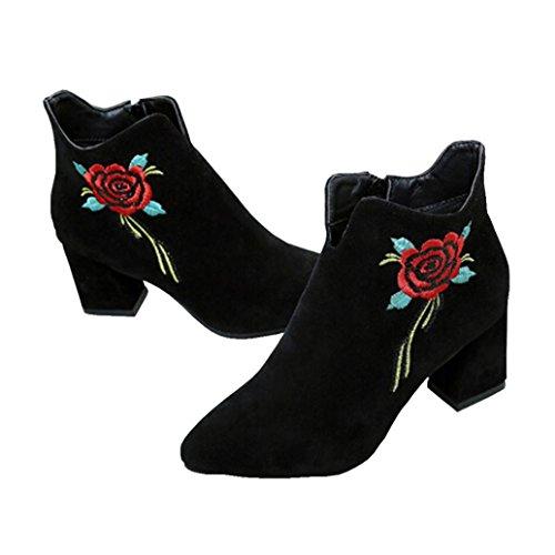 Stivali donna , feixiang® donna ricamato in pelle mocassini casual mid polpaccio stivali scarpe tacco alto---pu pelle + gomma (38, nero)