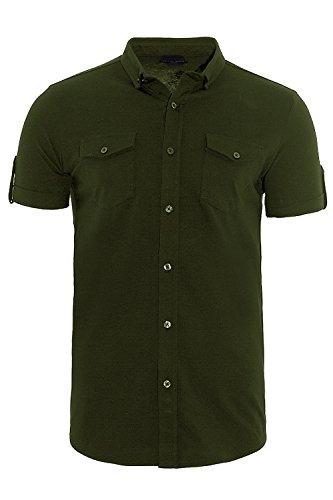 Brave Soul Herren Blusen Freizeit-Hemd grün grün Small Khaki - Green