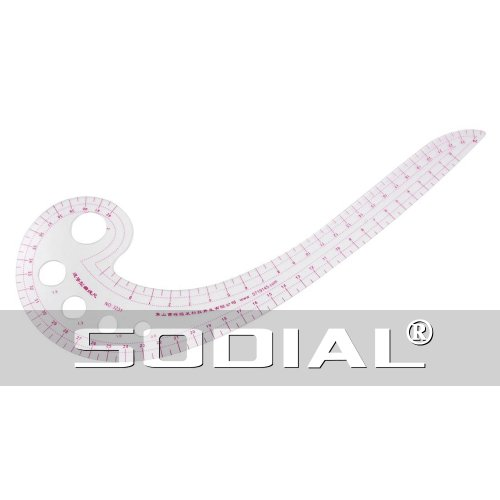 "Preisvergleich Produktbild SODIAL (R) 11.8 ""Lange Komma geformteR Kunststoff Transparent Franzoesisch Kurve Lineal"