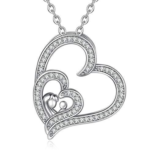 Collane materno e figlia, pendente a forma di cuore in argento sterling 925 con catena da 46 cm, regali per madre e ninas, gioielli di celestia
