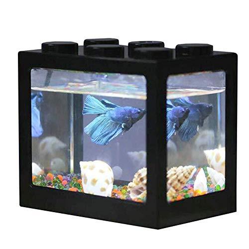 AUOKER Mini-Aquarium, USB-Schreibtisch-Aquarium, Kunststoff, mit LED-Licht für Betta-Goldfische und andere kleine Fische, ideal für Büro, Wohnzimmer, Couchtisch, Schreibtisch Dekoration