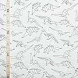 Black & White - Origami Dinos 2 - Jersey - 1 Meter x 150 cm
