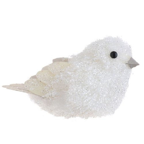 Weiß Glitzer Vogel mit Federn Weihnachten Ornament, 12,7cm (Glitzer-vogel-ornament)