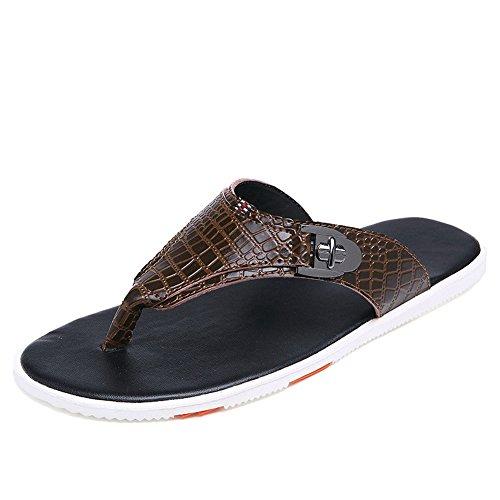 H&W Herren Strand Outdoor Leder Flip Flops mit Krokodilmuster Braun