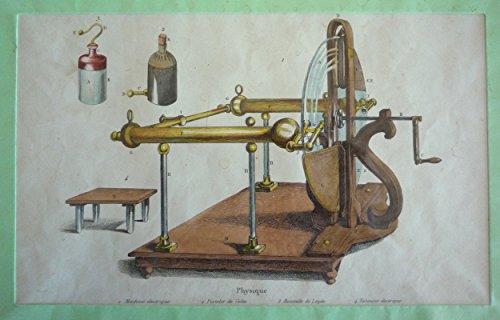 Gravure : Physique - Machine électrique, Pistolet de Volta, Bouteille de Leyde, Tabouret électrique (Dictionnaire pittoresque d'histoire naturelle et des phénomènes de la nature)