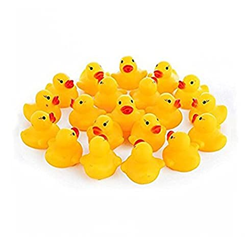 SwirlColor Pack of 20 Rubber Floating Yellow Ducks Bath Toys for Baby Bathtime