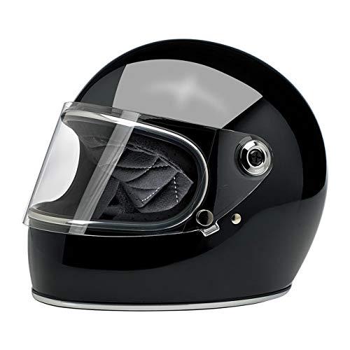 Casco Integral Gringo S biltwell Negro Brillante Gloss Black homologado Doble homologación ECE (Europa) & Dot (América) Helmet Biker Custom Vintage Retro año 70 Small Negro