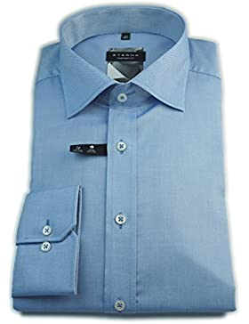 ETERNA Herren Langarm Hemd Comfort Fit Chambray Classic Kent Patch blau strukturiert 8551.12.E157