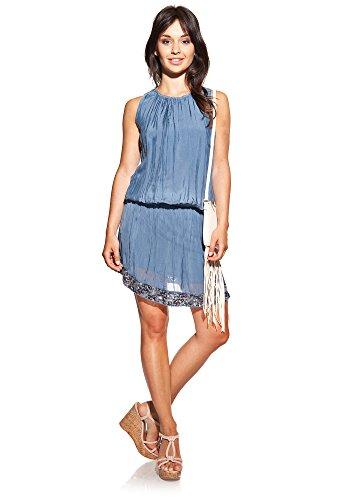 Laura Moretti - Robe en soie avec col rond et paillettes Bleu