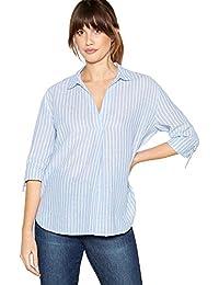 ef75dcb8ced Principles Womens Blue Striped Linen Cotton Blend Shirt