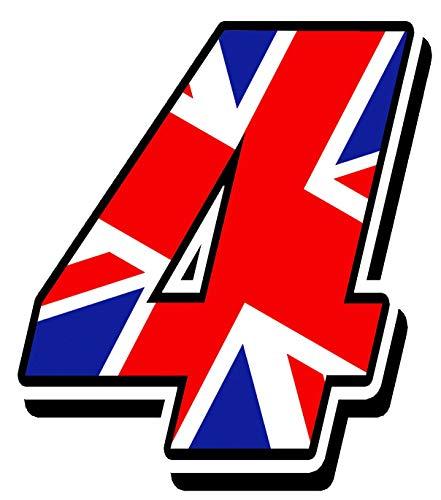 Biomar Labs Adesivo Sticker Numero Racing 4 Gara Bandiera Nazionale Union Jack Regno Unito Inglese UK Flag Auto Moto Cross Rally Sport Tuning N 294