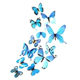 TIREOW 12 tlg 3D Wandtattoo Wand Aufkleber Schmetterlinge im 3D-Style, 12-Stück, Wanddekoration mit Klebepunkten zur Fixierung (Klebepunkten+ Magnet) (Blau)