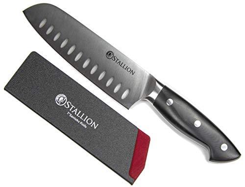 Stallion Professional Messer Santokumesser 17,5 cm – Klinge aus deutschem 1.4116 Messerstahl und Griff aus G10 GFK