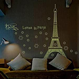 pi doudouwo architecture der eiffelturm in paris leuchtende wand sticker k che. Black Bedroom Furniture Sets. Home Design Ideas