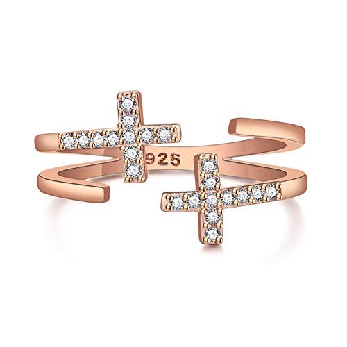 Ring für Damen und Mädchen, Zirkonia, doppeltes geometrisches Kreuz, vergoldet, 18 Karat, verstellbar, Weiß