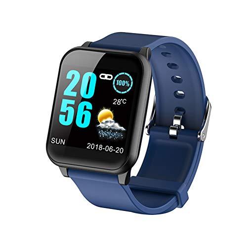 WShijie Pulsera inteligente con pantalla a color para medir la presión arterial y la presión arterial, pantalla de autodeterminación, seguimiento de movimiento, Bluetooth 1.3 Big Screen, azul