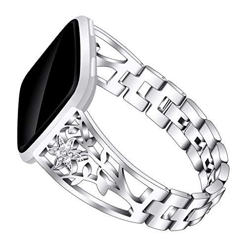 Elegantes Universal-Ersatzarmband,Seestern halter Kettenband, verschleißfester,Exquisiter Doppel faltschließe-Entwurf,Micro-Rebound armband,für Damen Männer,für Fitbit/Versa Lite (Silber) - Fitbit-armband Faltschließe