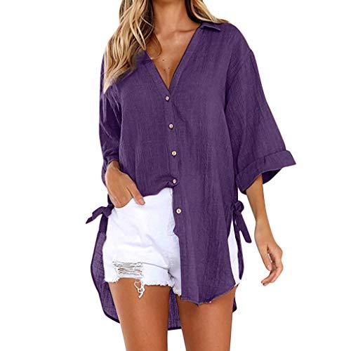 Blusas para Mujer, ❤️ Amlaiworld Camiseta Casual Tops Camisetas Blusa Vestido Camisero Largo con Botones Sueltos para Mujer Blusa Mujer Elegante Tallas Grandes S - XXXL (Púrpura A, M)