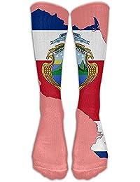 Caigongsi Costa Rica Flag Map Prints Over-The-Calf Tube Stockings Compression Socks For