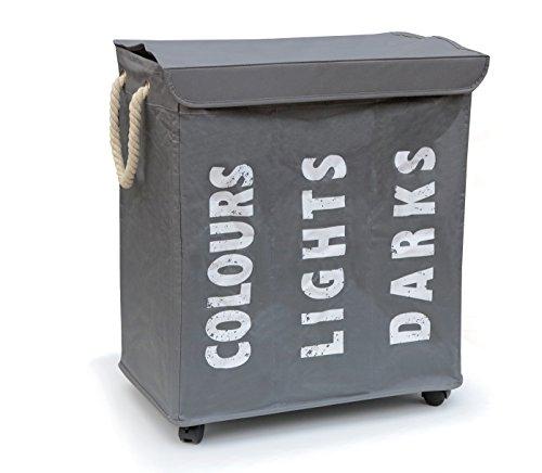 hausratplus 3er Wäschesortierer auf Rollen Wäschebox Wäschekorb grau