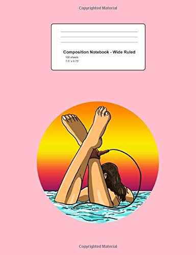 Composition Notebook - Wide Ruled: Surfer Girl Cute Surf Waves Sun Summer  Beach Lover Gift - Pink Blank Lined Exercise Book - Back To School Gift For ... Teens, Boys, Girls - 7.5