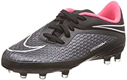 Nike Kids Jr Hypervenom Phelon FG Black/Black/Hyper Punch/White Soccer Cleat 4 Kids US