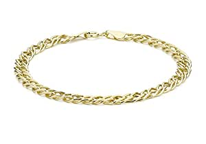 """Carissima Gold 9ct Yellow Gold Double Curb Bracelet of 18.5cm/7.25"""""""