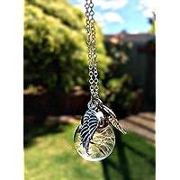 Cadena de plata esterlina Alas del ángel Collar de diente de león con caja de regalo collar conmemorativo joyería de dama de honor joyas de regalo para mujeres regalo de Navidad