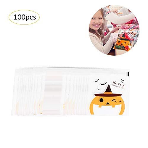 Süßigkeitstaschen 100pcs Halloween backen Verpackungs-Tasche Kürbis-Mann-Keks-Kuchen-Brot-Süßigkeits-Nugat-Tasche selbstklebende Festlichkeits-Taschen, transparente Taschen Kürbis-Süßigkeits