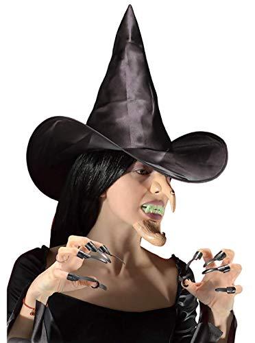 Inception Pro Infinite Hexen-Set - Hut - Nase - Kinn - Nägel - künstliche Zähne - Maskerade - Halloween - Karneval - Kinder - Herren - Damen - Unisex